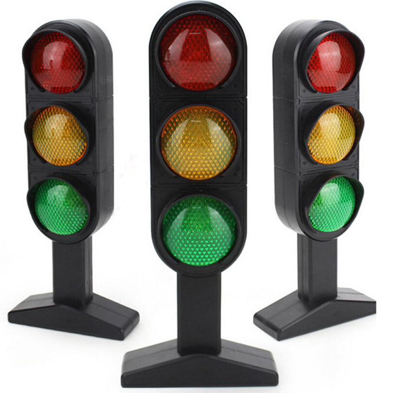 Traffic Lights toy 24cm Road Signs Children Model Scene Simulation Teaching Child Traffic Light Signal Lamp Toy Live Voice