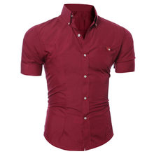 Sleeper #5002 2018 DA FashionMen Luxury Business Stylish Slim Fit Short Sleeve Casual Shirt solid red casual hot Free shipping(China)