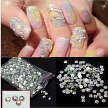 1000 Pcs HOT Nail Art Stickers Flatback Crystal AB 14 Facets Resin Round Rhinestone Tips Beads Makeup 4mm DecorationTools