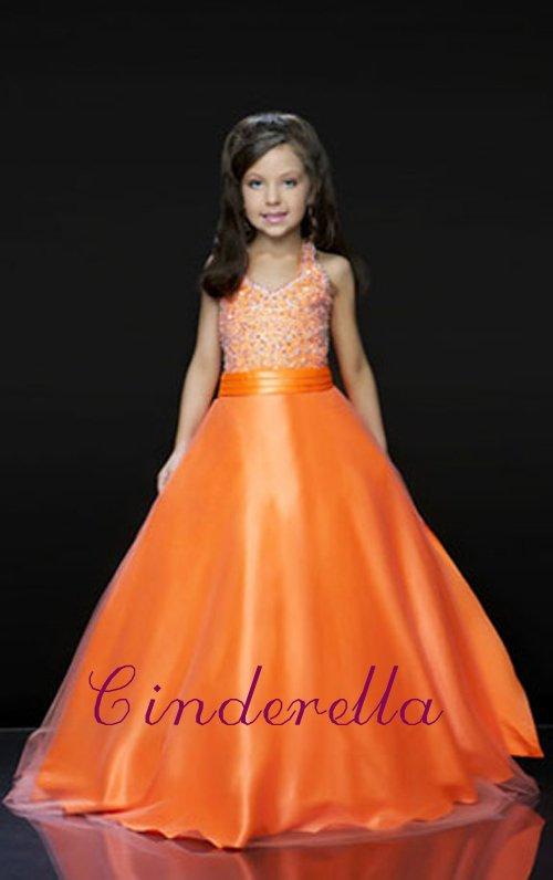 Free shipping Beaded Burnt Orange girls communion dress girl\'s party ...
