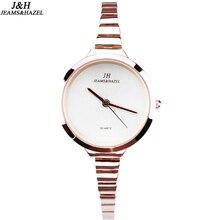Marca Vestido relojes masculinos de Acero inoxidable de lujo creativo reloj de Pulsera Señoras de La Manera Mujeres Ronda de oro negro Reloj JH