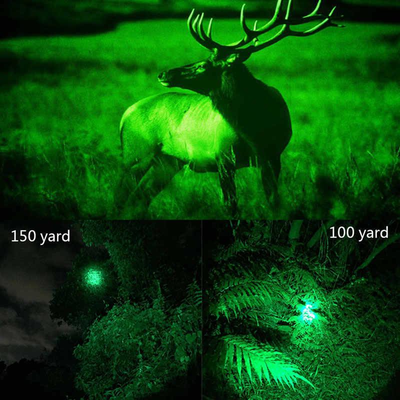 5000LM tactique lampe de poche LED chasse vert Zoomable réglable focus arme pistolet torche + 18650 + chargeur USB + montage + pressostat