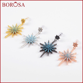 BOROSA Blue Zircons Micro Pave Star Charm Earrings,Mix Color CZ Stone Beads Druzy Drop Earrings for Women Jewelry WX685