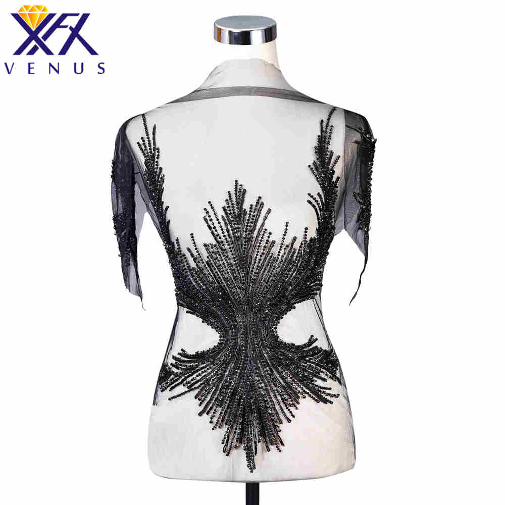 XFX VENUS Handmade Dress Patch Rhinestone Applique Patches Beads Pearls Appliques Embroidery Wedding Patch for DIY