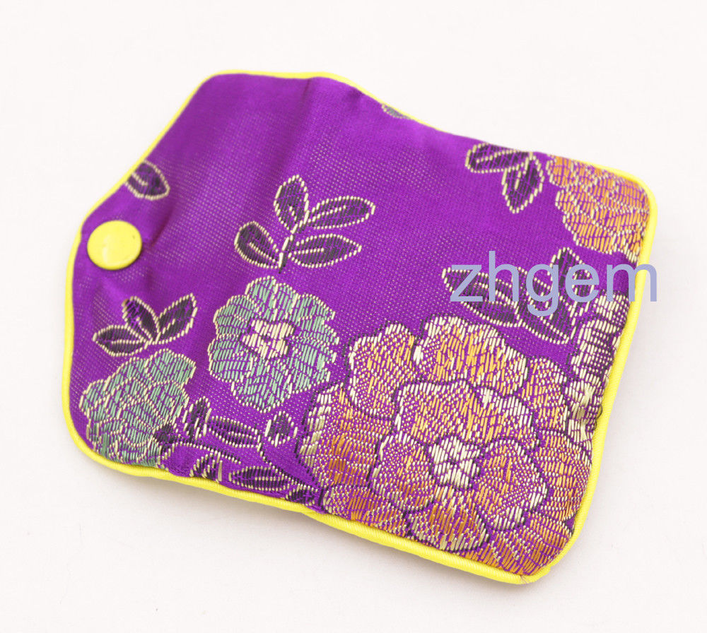10PCS Gift Jewelry Bags Pouch 70x80mm Purple Made-Man Silk Pouch SNAP BUTTON