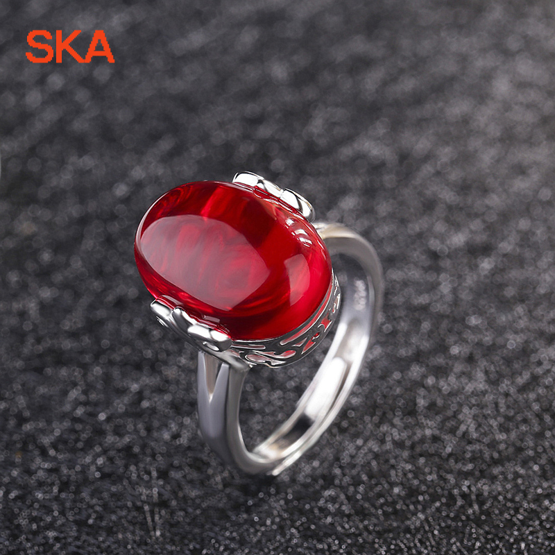 SKA Ring Wedding Rings For Women Anelli Luxurious Bague Costume Jewelry Red Stone Adjustable Hollow Out Anillos Mujer JJZ336
