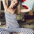 Мода Лето 2015 Женщины Элегантный Sexy Beach Спинки Полосой Комбинезоны Рукавов О шеи Плюс Размер Rompers Бесплатная доставка Y73159D