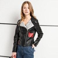 OLGITUM Jacket 2017 New Fashion Spring Autumn Women Faux Soft Leather Long Sleeve Coat Zipper Design