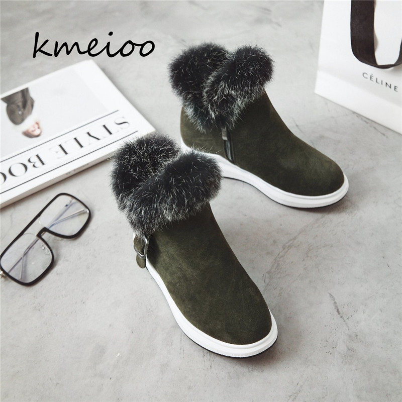 06f65c0ad0 US $39.99 |Kmeioo Women's Shoes Thick Fur Fashion Snow Boots 2018 New  Winter Cotton Warm Shoes For Women Ankle Boots-in Ankle Boots from Shoes on  ...