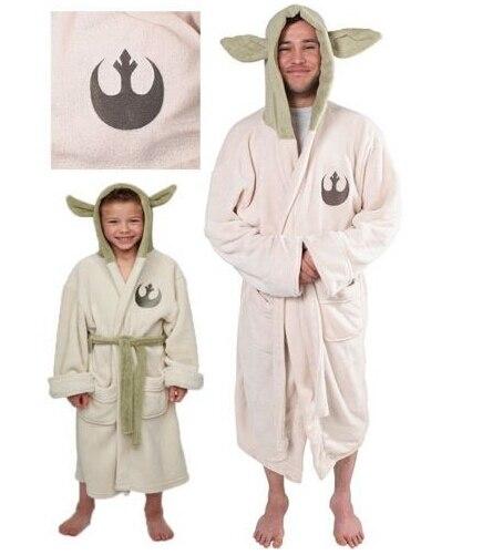 Star Wars Yoda Jedi Ears Fleece Bathrobe Hooded BathRobe Cosplay Costume  Adult Kids Child New(