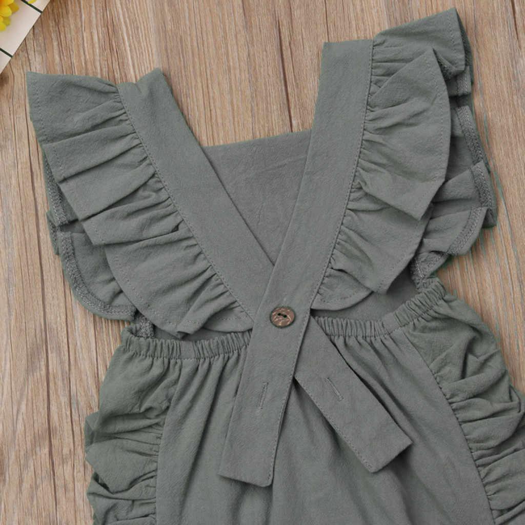 Zomer 2020 Baby Meisjes Bodysuit Clotheing Peuter Meisjes Prinses Solid Ruches Backless Bodysuit Baby Meisjes Bodysuit Kleding