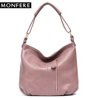 MONFERE Genuine Luxury Leather Bags for Women 2018 Female Bucket Crossbody Zipper Bag High Quality Cowhide Tote Leather Handbag