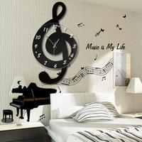 Creative Note Shape Wall Clock 3D Wall Clock Decorative Kitchen Wall Clocks Living Room Dining Room Home Decoration