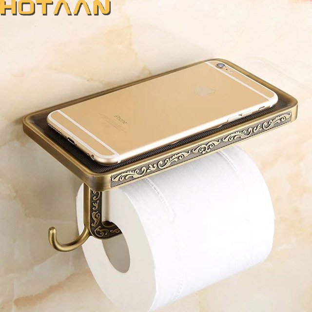 Antique Brass Toilet Paper Holder Bathroom Mobile Holder Toilet Tssue Paper  Roll Holder Bathroom Storage Rrack