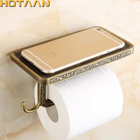 Free Shipping Antique Brass Finish Solid Zinc Alloy Toilet Paper Holder Bathroom Mobile Holder Toilet Paper
