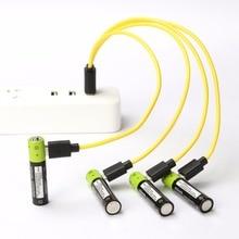 ZNTER шт. 4 шт. AAA Mirco USB аккумуляторная батарея 400 мАч В 1,5 В литий-полимерный аккумулятор для игрушек пульт дистанционного управления с зарядным кабелем