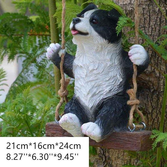 Garden Statue Cute Swing Border Collie