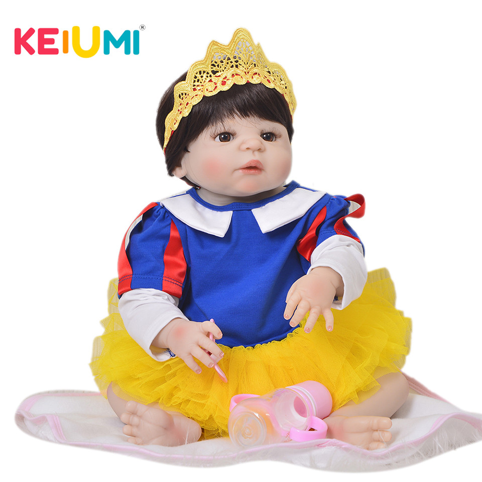 Limited 23'' Full Silicone Vinyl Reborn Baby Dolls Newborn Realistic Princess Kids Playmates 57 cm Baby Doll Toy For Girl Gifts цена