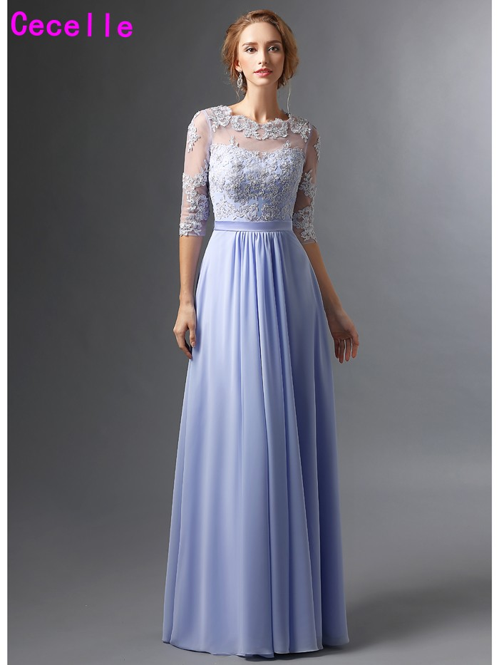 Lavender Mother of the Bride Gowns with Sleeves