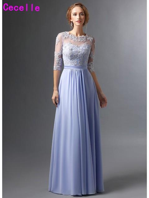 2017 Lavender A line Chiffon Mother Of The Bride Dresses Half ...
