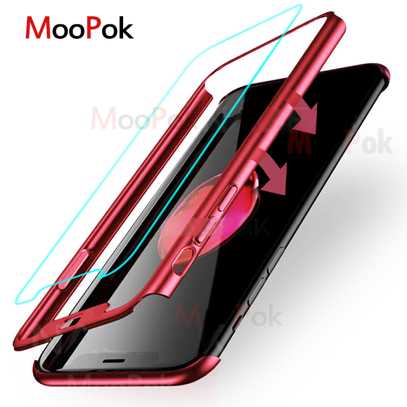 MooPok Luxury 360 Full Cover Case For <font><b>Samsung</b></font> <font><b>Galaxy</b></font> S8 S9 Plus S7 S6 Edge Note 8 Anti-knock Phone Cover <font><b>S</b></font> <font><b>9</b></font> 8 7 Case With Glass image