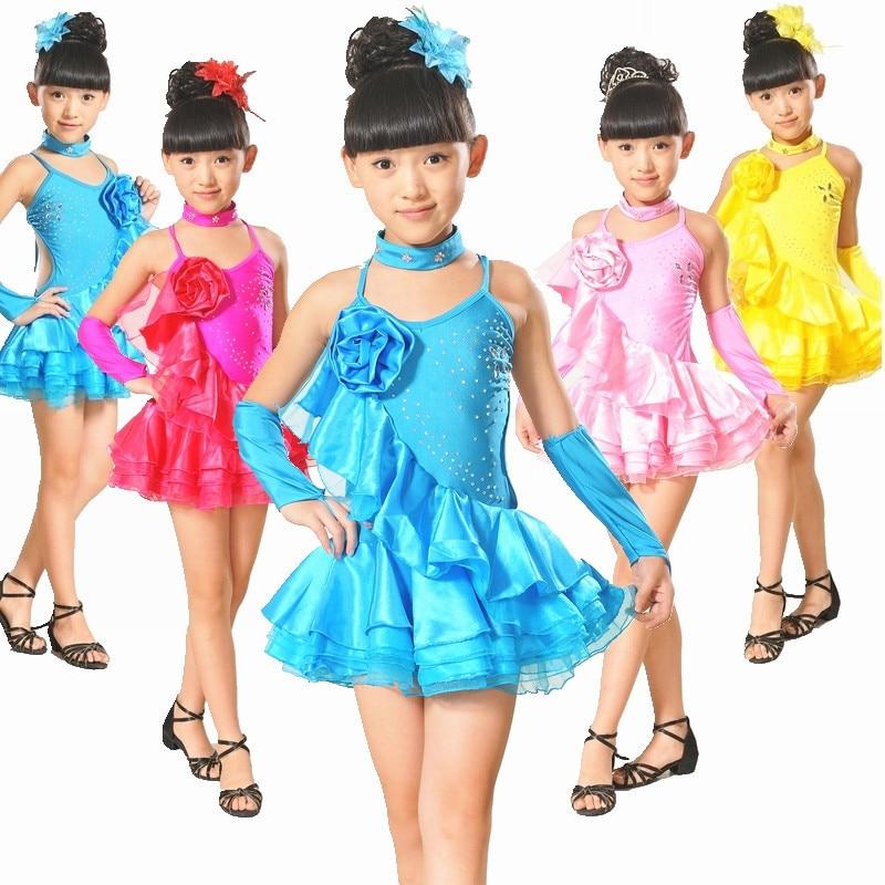 Girls Fringe Flower Rhinestones Latin Salsa Dance Dress Ballroom Competition Performance Children Tango Costume for Kids L048