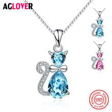 New Arrival Fashion Exquisite 925 Silver Chain Lovely Crystal Full Rhinestone Cat Pendant Necklace For Women Girls Jewelry