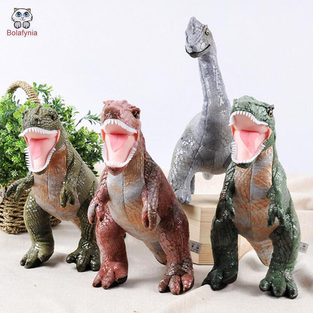 BOLAFYNIA Gteen skin Ferocious dinosaur Children Plush Stuffed Toys Baby Kid Toy doll for Christmas Birthday Gift