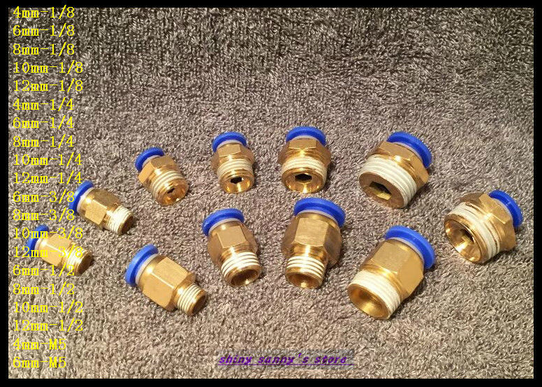 """15Pcs/Lot PC8-02 8mm to 1/4"""" Pneumatic Connectors male straight one-touch fittings BSPT"""