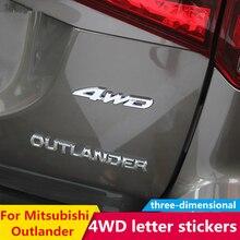 Autocollant en lettres spéciales, 3D 4WD, étiquette modifiée dextérieur, pour Mitsubishi Outlander, quatre roues, pour 2013, 2015, 2016, 2017, 2018