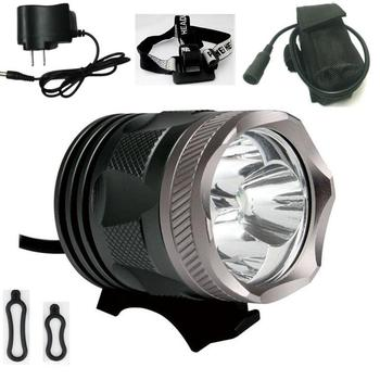 3500LM 30W Silver Color UniqueFire 3*Cree XM-L U2 3 Modes LED Bicycle Bike Light & Head Lights Include 8.4V 4*18650 Battery Pack
