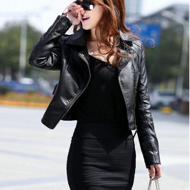 Mujeres Punk Delgado Solapa de la Chaqueta de Cuero de LA PU Del Motorista de La Motocicleta Corto Outwear