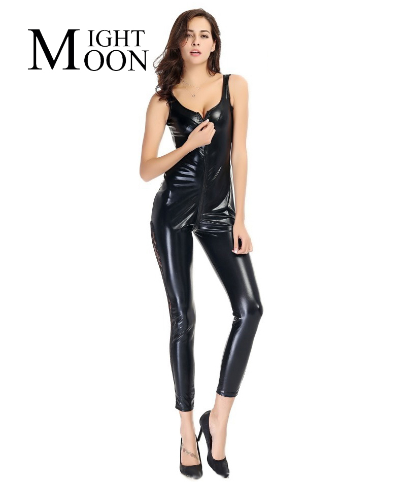 MOONIGHT 2018 Sexy Lady Leather Costume PVC Jumpsuit Sexy Catsuit Game Bodysuit Clubwear Lace Jumpsuit Crotch Zipper