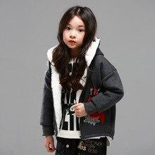 Девушки зимнее пальто детские толстые теплые ягненка кашемир куртка 2016