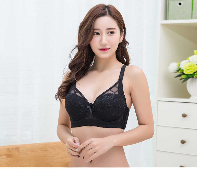 cb95b6bea63d3 ... 2019 Selling Hot Foreign Trade Ultra-thin Lace Sexy Thin Cotton Cup  Plump Big Push ...