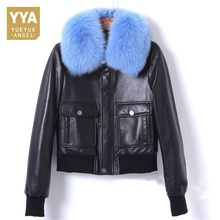 2019 Hot Winter Womens Fur Coat Black Sheepskin Coat Female Fox Fur Collar Short Real Leather Down Jacket Zipper Moto Outerwear(China)