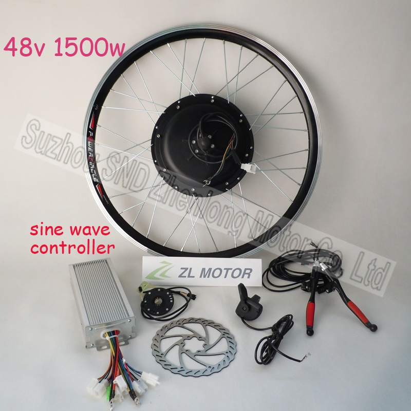 bicycle conversion kit gearless hub motor 1500w 48V include BLDC Noiseless sine wave controller G-S021 - Suzhou SND Zhenlong Motor Co. Ltd store