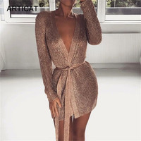 Articat Knitting Bandage Sexy Mini Dress Women V Neck Long Sleeve See Through Summer Dress Female Evening Party Dress Vestidos
