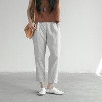 Women Cotton Linen Loose Casual Pants Summer Ladies Elastic Waist Button Solid Color Thin Pencil Harem Korean Trouser Clothing