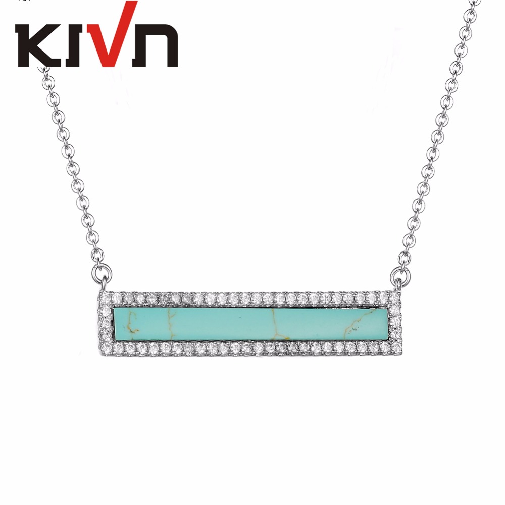 KIVN Fashion Jewelry Rectangle Bar Pave CZ Cubic Zirconia Blue Stone Pendant Necklaces for Women Girls Promotion Birthday Gifts