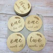 set of 14 pcs laser etch wood baby cards milestone set baby month card