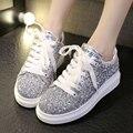 2015 Hot Sale Fashion Women Platform shoes Silver Glisten Heighten Sport  Thick Heel Casual Walking Flat shoes Free Shipping