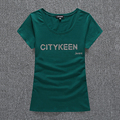 Fashion CTK Letters rhinestone Solid color T shirt Women 95% Cotton kids O neck short sleeve top girls sexy elegant Summer under