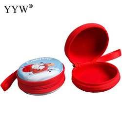 1 шт. Металлический сувенир на Рождество коробка для Цепочки и ожерелья Браслеты Серьги Кольца прекрасный красный Снеговик Санта Клаус Jewelry