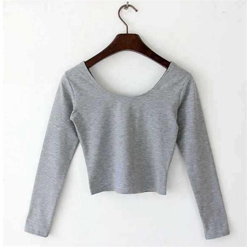 แฟชั่นเสื้อยืดสำหรับผู้หญิงลำลองแขนยาวO-คอของผู้หญิงเสื้อTเซ็กซี่F Emmeเสื้อทีพื้นฐานพืชยอดนิยม