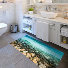DIY Creative Sea Rocks Wall Stickers Non Slip Beach Bathroom Floor Sticker  For Bedroom Living