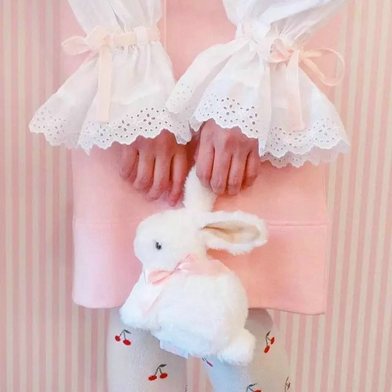 Japan Lolita Cute Rabbit Plush Bag Anime Bunny Metal Belt  Crossbody Coin Bags For Baby Girl  School Gift Toys For Girlfriend