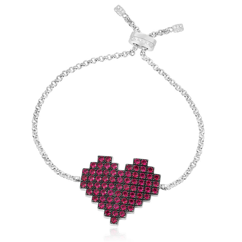 SLJELY Fashion 925 Sterling Silver Red Cubic Zirconia Pixel Love Heart Bracelet Women Lover Monaco ARC