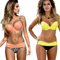 Minimalism Le Brand 2016 New Summer Striped Patchwork Sexy Women Bikini Set Push Up Swimwear Beachwear