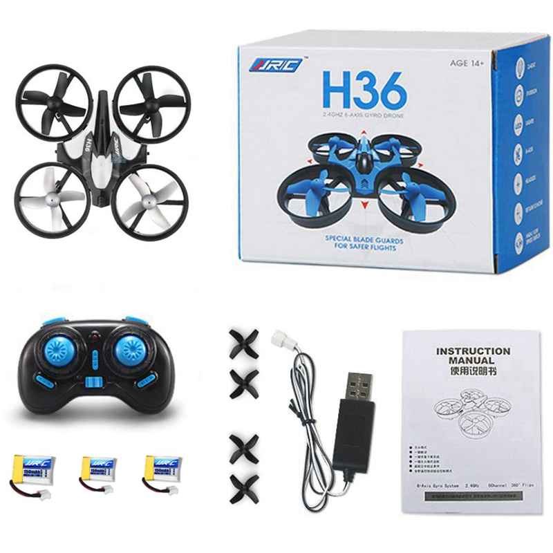 3 Batteries Mini Drone Rc Quadcopter Fly Helicopter Blade Inductrix Drons Quadrocopter Toys For Children Jjrc H36 Dron Copter